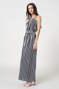 ESPRIT Bodywear, Tampa csíkos maxi strandruha, Fehér/Tengerészkék
