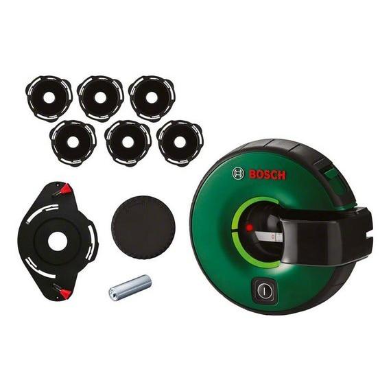 Fotografie Nivela laser cu linii Bosch Atino 0603663A01, 630-650 nm dioda laser, 0.3° autonivelare, +/-2 mm/m precizie, 2 m domeniu lucru, 1 x 1,5 V LR6 (AA), 6 paduri cu gel, capac de protecţie pentru padul cu gel, 2 stifturi