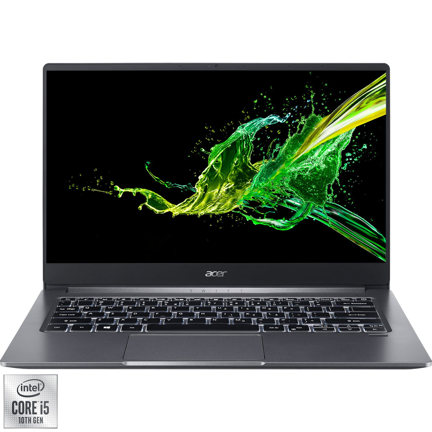 "Fotografie Laptop ultraportabil Acer Swift 3 SF314-57 cu procesor Intel core i5-1035G1 pana la 3.60 GHz, 14"", Full HD, 16GB, 256GB SSD, Intel UHD Graphics, No OS, Steel Grey"