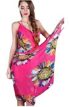 Strandruha s01 , ráhajtós , virágos pink színben