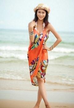 Strandruha s01 , ráhajtós , virágos narancs színben