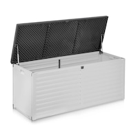 Lada depozitare de exterior, pentru gradina, terasa 143x53x57,5cm, 390L - Alb/Negru