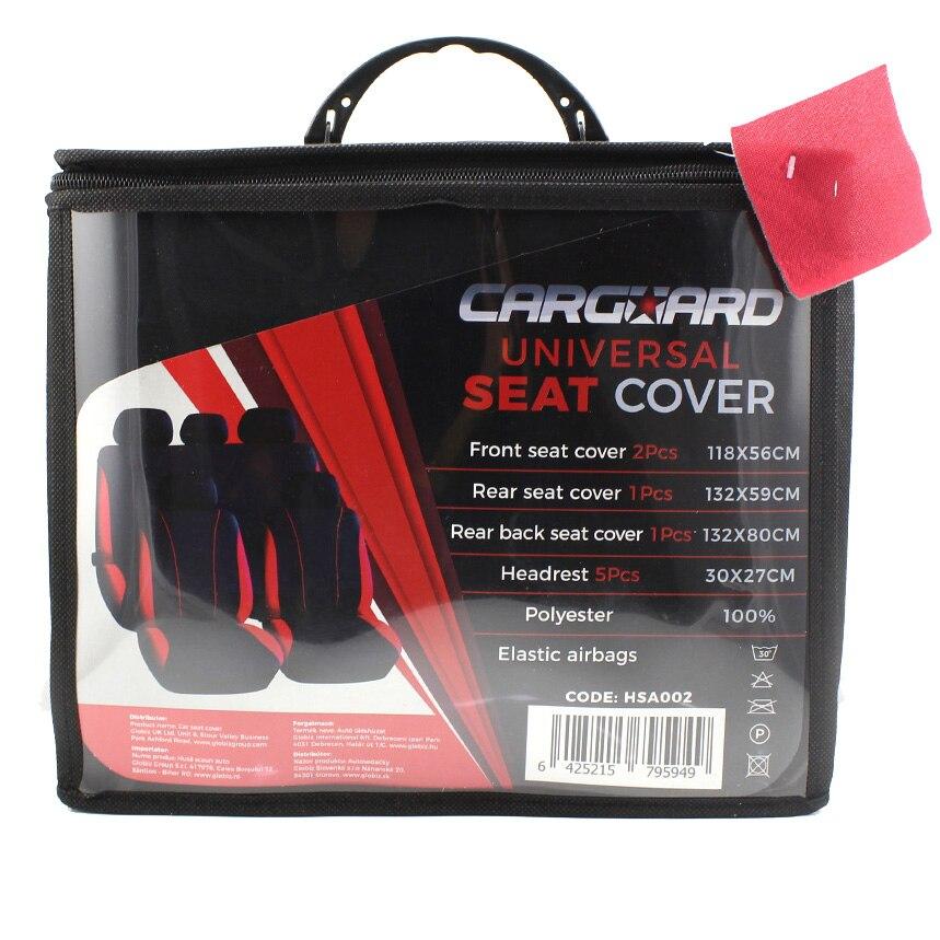 Fotografie Huse universale scaune auto Carguard, 9 piese , negru cu rosu , compatibile scaune cu airbag
