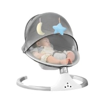 Leagan electric smart Lala KiDs pentru bebelusi cu acoperis rabatabil si plasa pt protectie, conexiune Bluetooth si USB , telecomanda, doua jucarii si melodii incorporate , culoare gri , model ursulet , varsta 0+