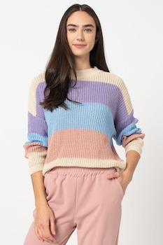 Haily's, Плетен пуловер с паднали ръкави, Многоцветен