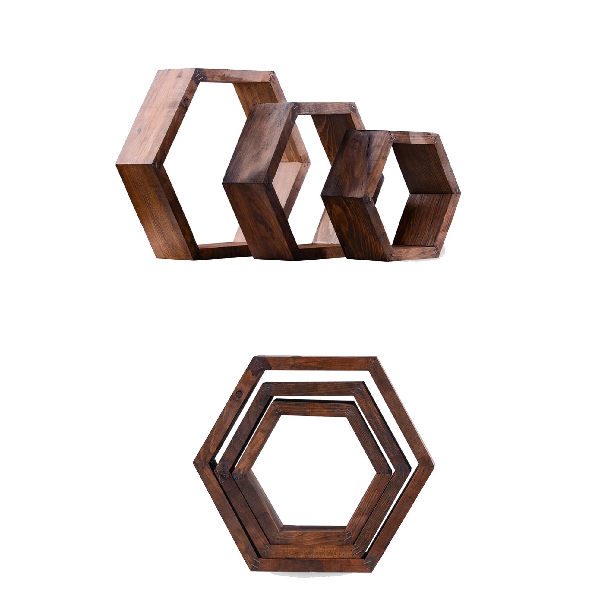 Fotografie Set 3 Etajere Hexagonale Heinner Home, 30x33/5x9cm, lemn de pin, model Colonial