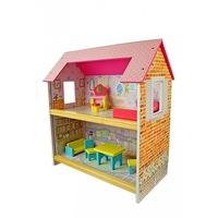 Fa babaház, 2 szintes, színes hálószoba és nappali kiegészítők