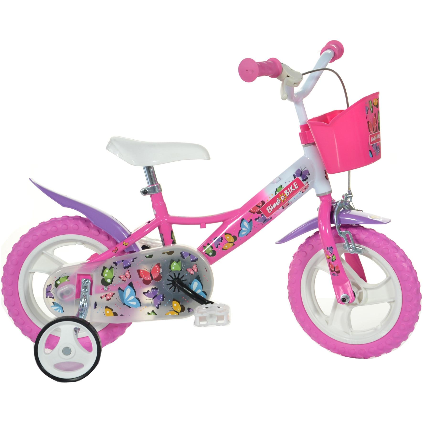 "Fotografie Bicicleta B Bike Butterfly MTB 12"" pentru fete, Roz/Alb/Mov, 1S"