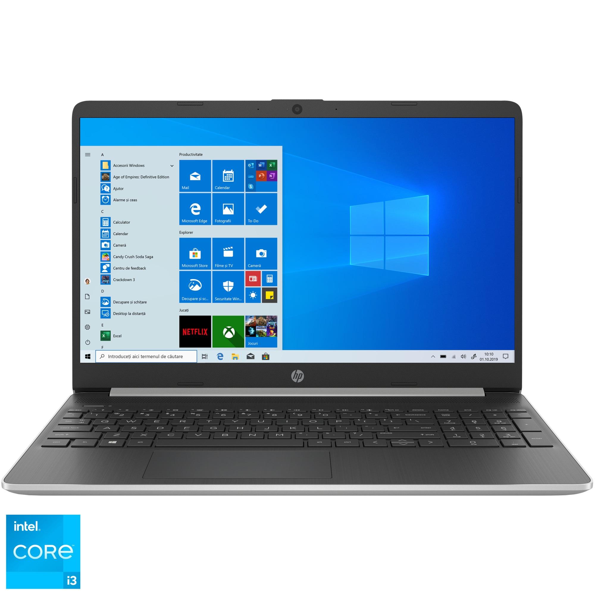 "Fotografie Laptop HP 15s-fq2018nq cu procesor Intel® Core™ i3-1115G4 pana la 4.10 GHz, 15.6"", Full HD, 8GB, 256GB SSD, Intel® UHD Graphics, Windows 10 Home, Natural Silver"