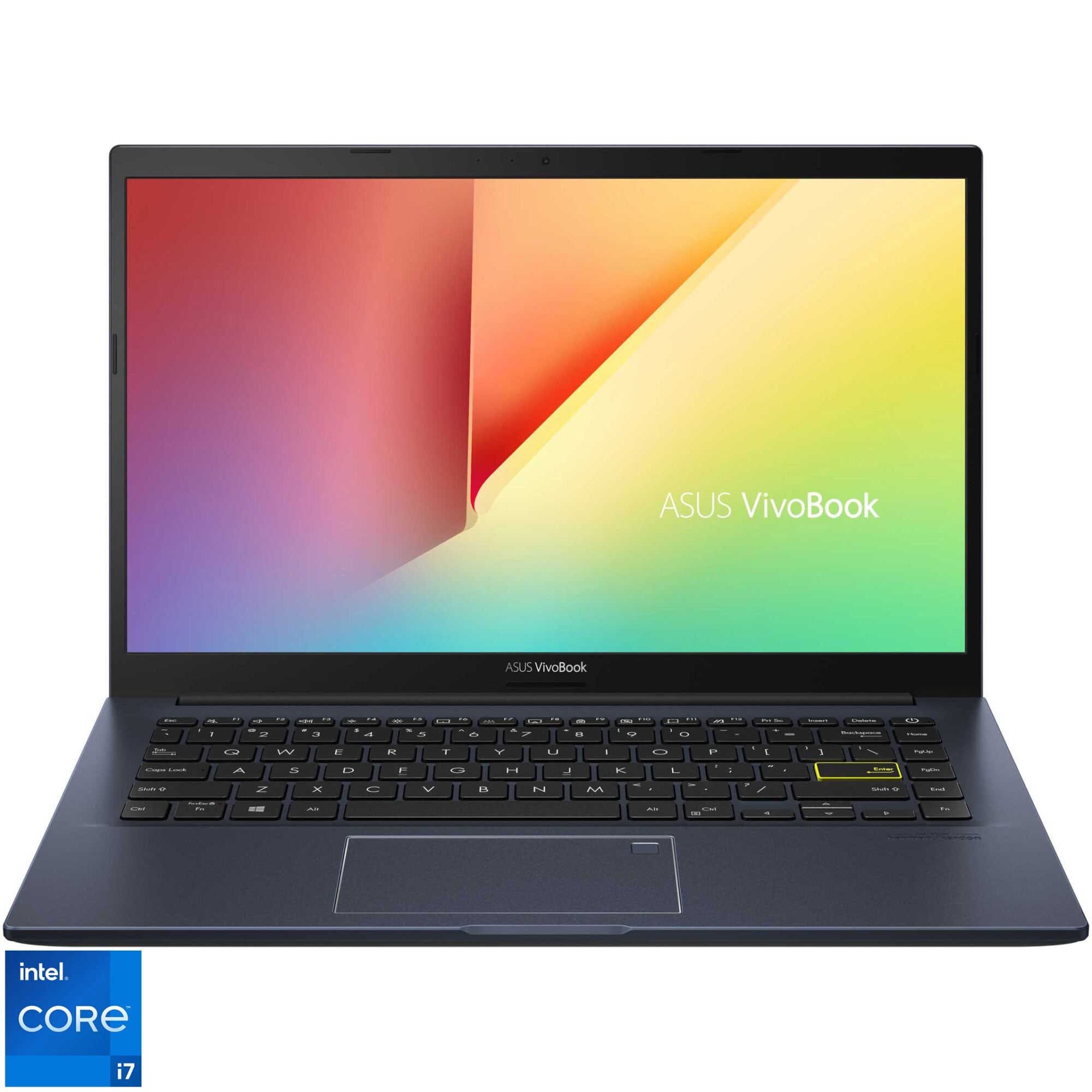 "Fotografie Laptop ultraportabil ASUS VivoBook 14 X413EA cu procesor Intel® Core™ i7-1165G7 pana la 4.70 GHz, 14"", Full HD, 8GB, 512GB SSD, Intel Iris Xᵉ Graphics, No OS, Bespoke Black"