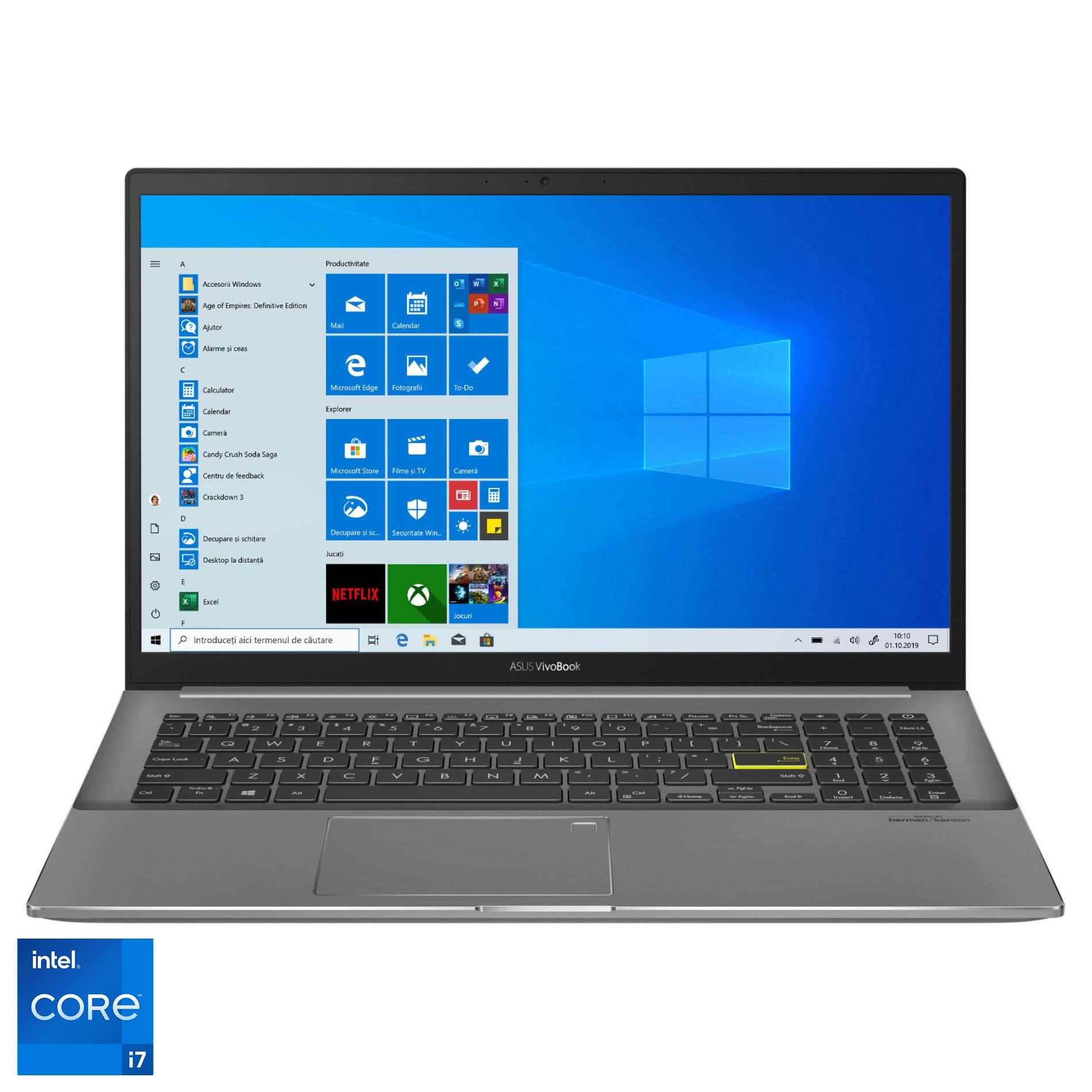 "Fotografie Laptop ASUS VivoBook S15 S533EQ cu procesor Intel® Core™ i7-1165G7 pana la 4.70 GHz, 15.6"", Full HD, 8GB, 512GB SSD, NVIDIA® GeForce® MX350 2GB, Windows 10 Home, Indie Black"