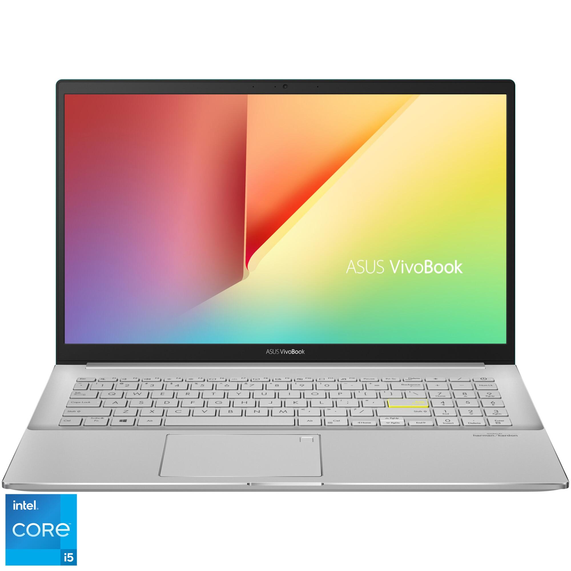 "Fotografie Laptop ASUS VivoBook S15 S533EA cu procesor Intel® Core™ i5-1135G7 pana la 4.20 GHz, 15.6"", Full HD, 8GB, 512GB SSD, Intel Iris Xᵉ Graphics, Free DOS, Gaia Green"