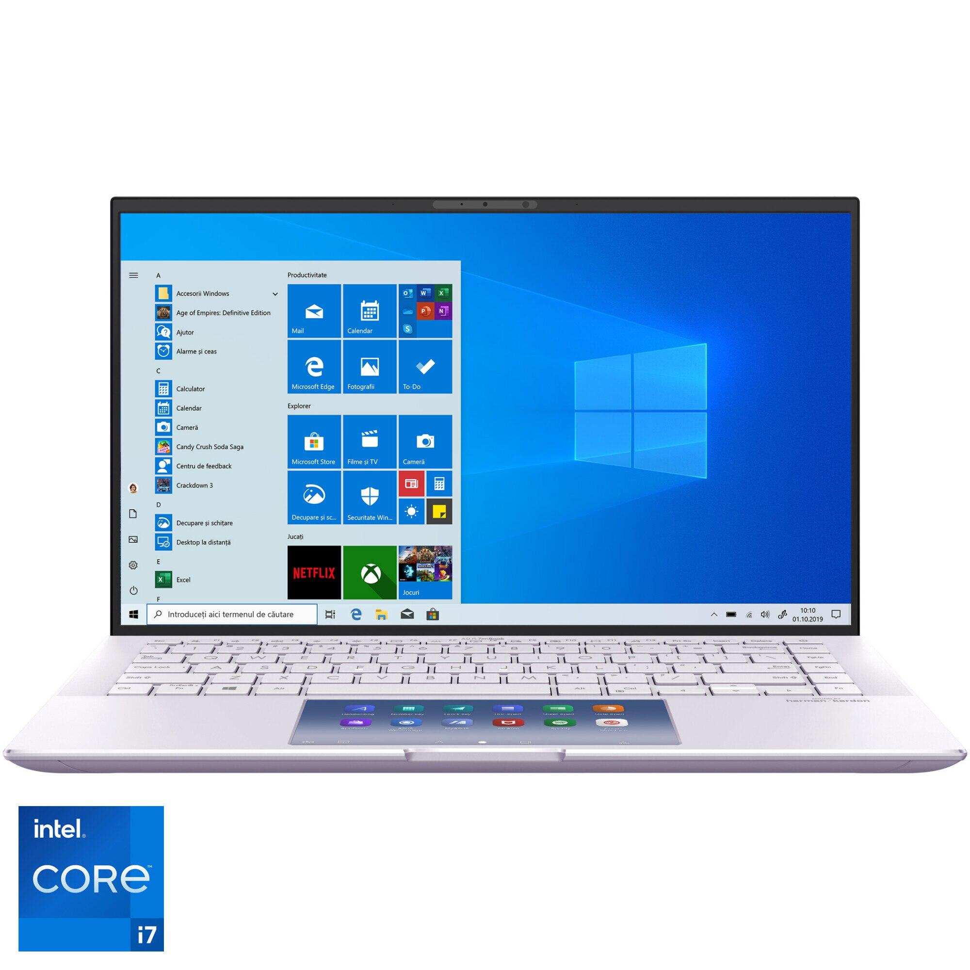 """Fotografie Laptop ultraportabil ASUS ZenBook 14 UX435EG cu procesor Intel® Core™ i7-1165G7 pana la 4.70 GHz, 14"""", Full HD, 16GB, 512GB SSD, NVIDIA® GeForce® MX450 2GB, Windows 10 Pro, Lilac Mist"""