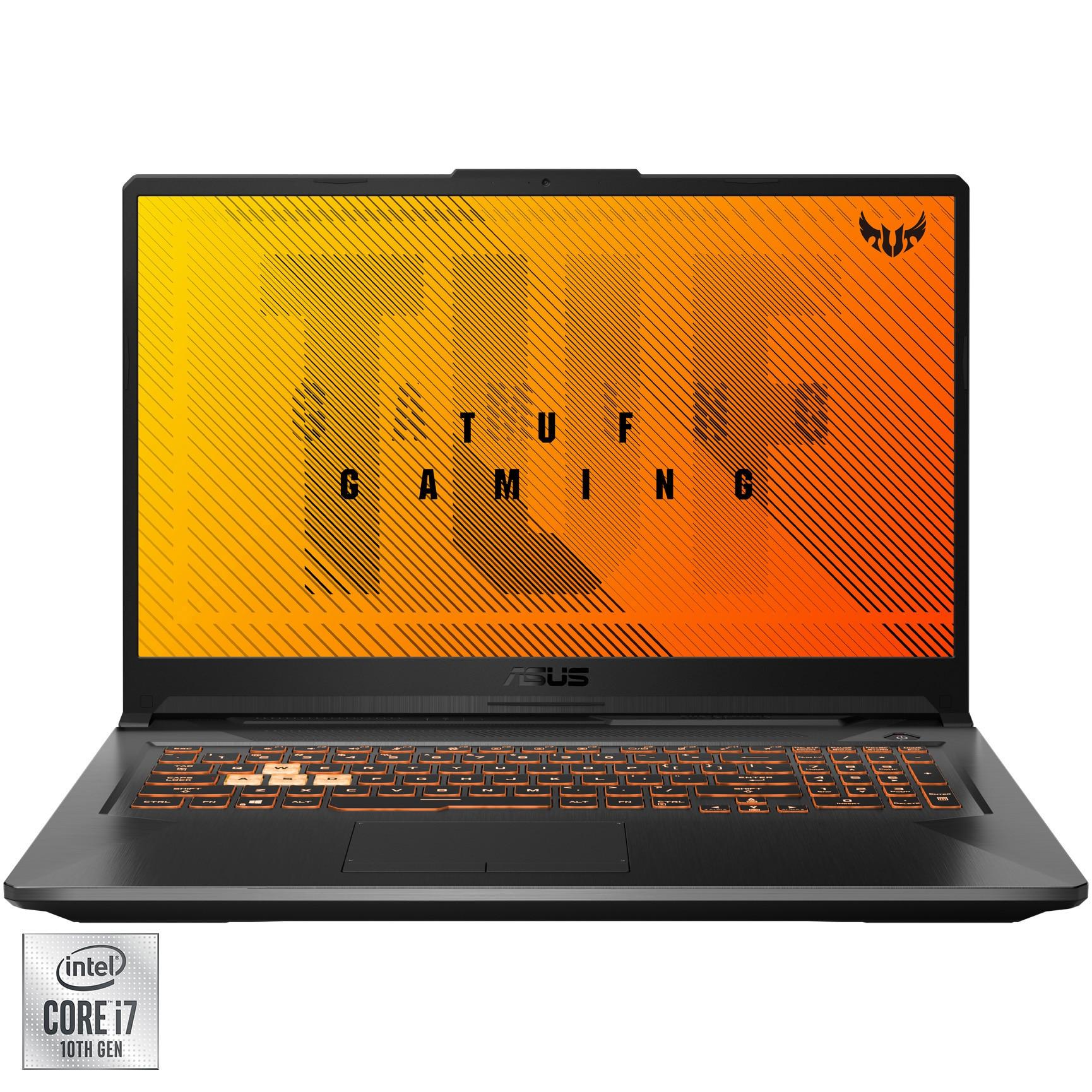 "Fotografie Laptop Gaming ASUS TUF F17 FX706LI cu procesor Intel® Core™ i7-10870H pana la 5.00 GHz, 17.3"", Full HD, 144Hz, 16GB, 512GB SSD, NVIDIA® GeForce® GTX 1650 Ti 4GB, Free DOS, Bonfire Black"