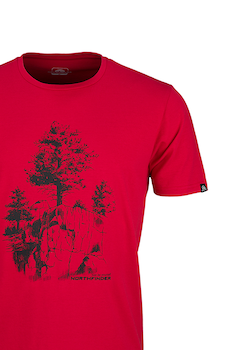 NORTHFINDER, Karter mintás póló, Piros/Fekete