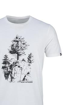 NORTHFINDER, Karter mintás póló, Fehér/Fekete