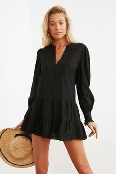 Trendyol, V-nyakú rétegzett strandruha, Fekete