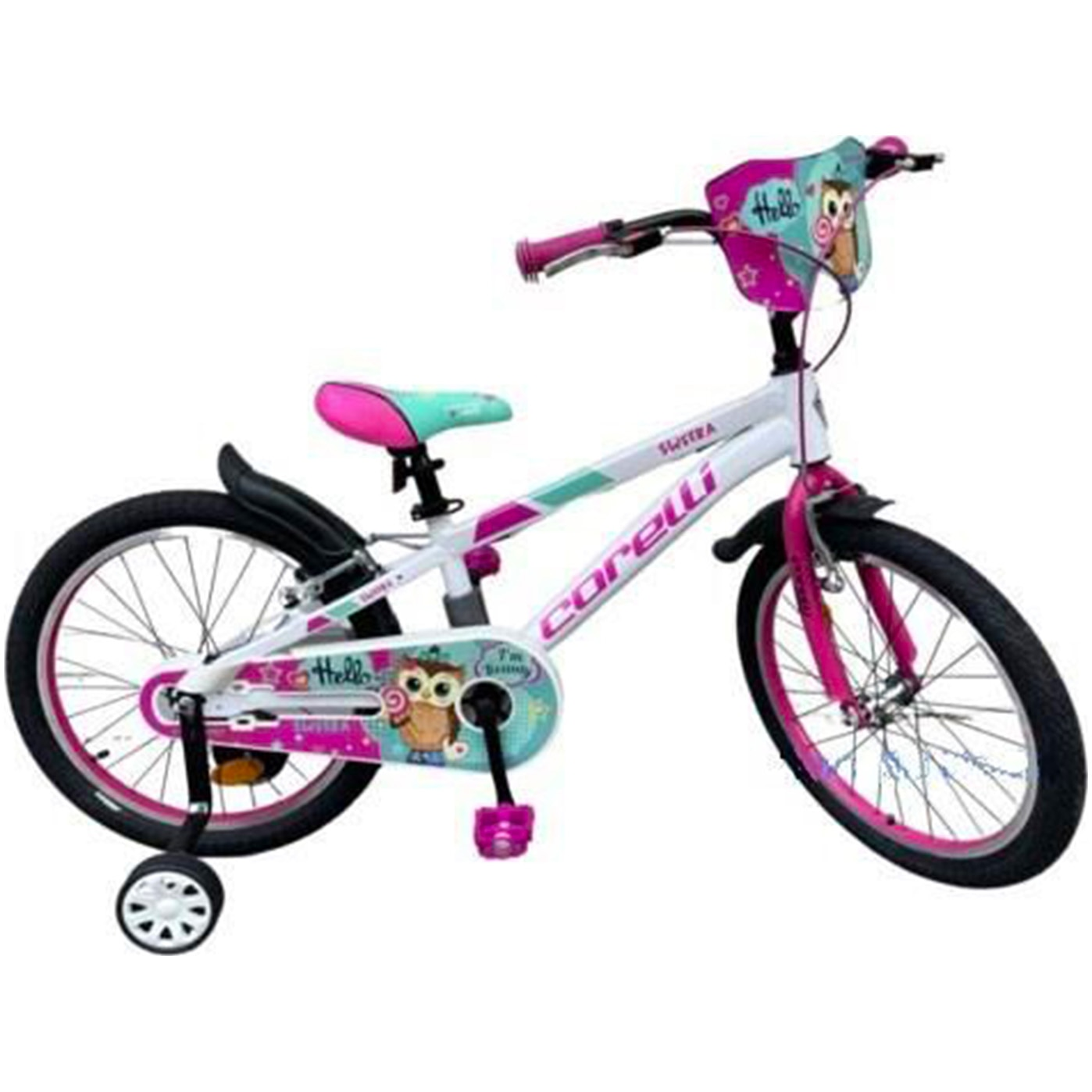 """Fotografie Bicicleta copii Corelli SWERA 20"""", single-speed, culoare alb-roz, accesorii incluse"""