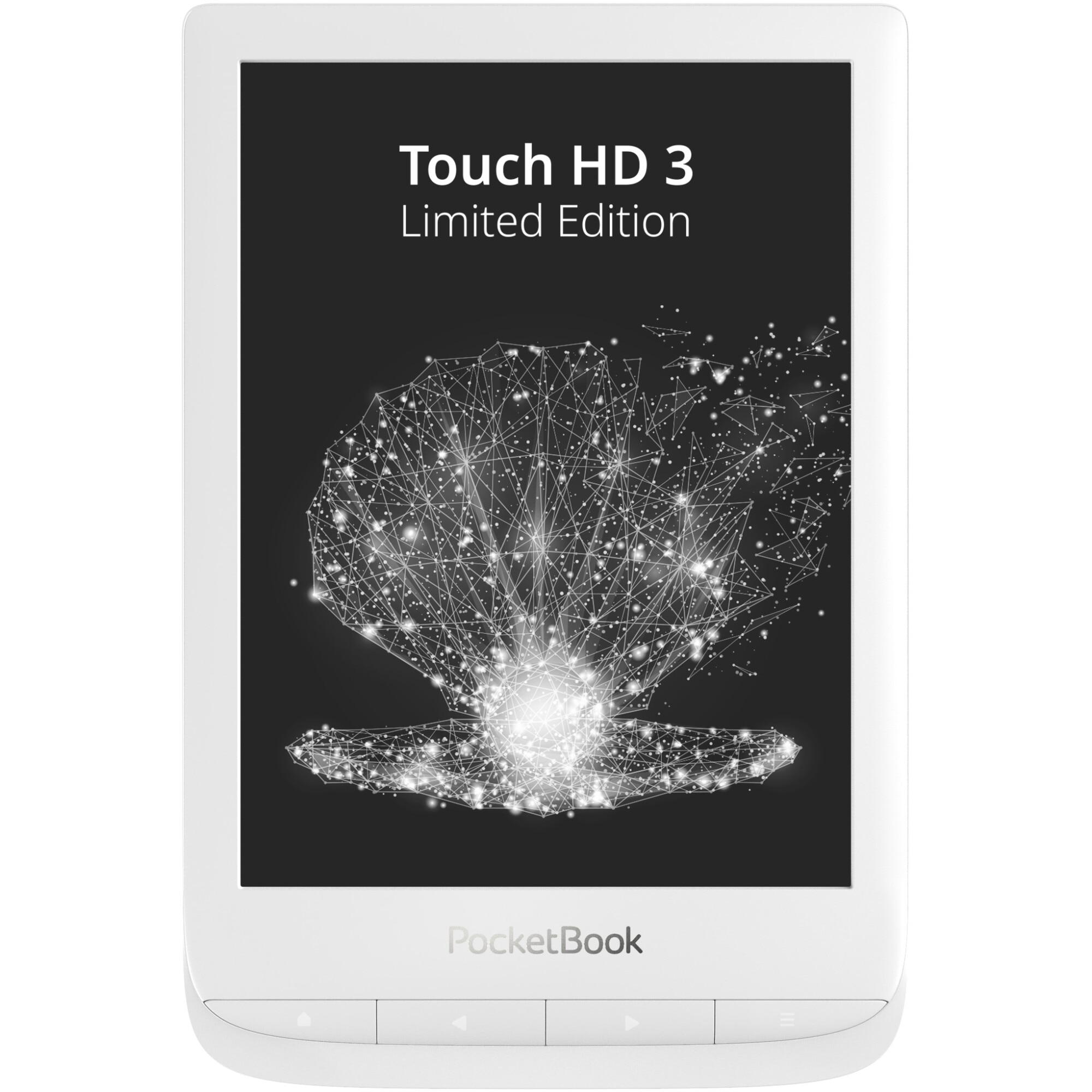 "Fotografie eBook Reader PocketBook Touch HD3 LIMITED EDITION, 6"", 16GB, rezistent la apa, WiFi, Bluetooth, husa, Alb perlat"