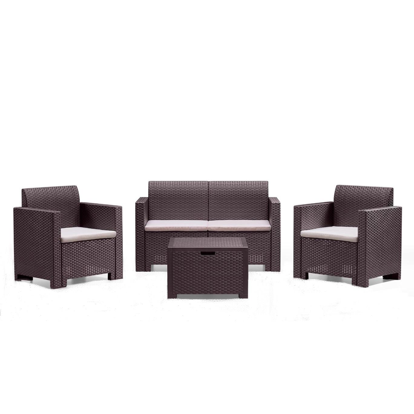 Fotografie Set mobilier gradina/terasa Nebraska, canapea 2 locuri + 2 fotolii + masuta depozitare, perne incluse, maro