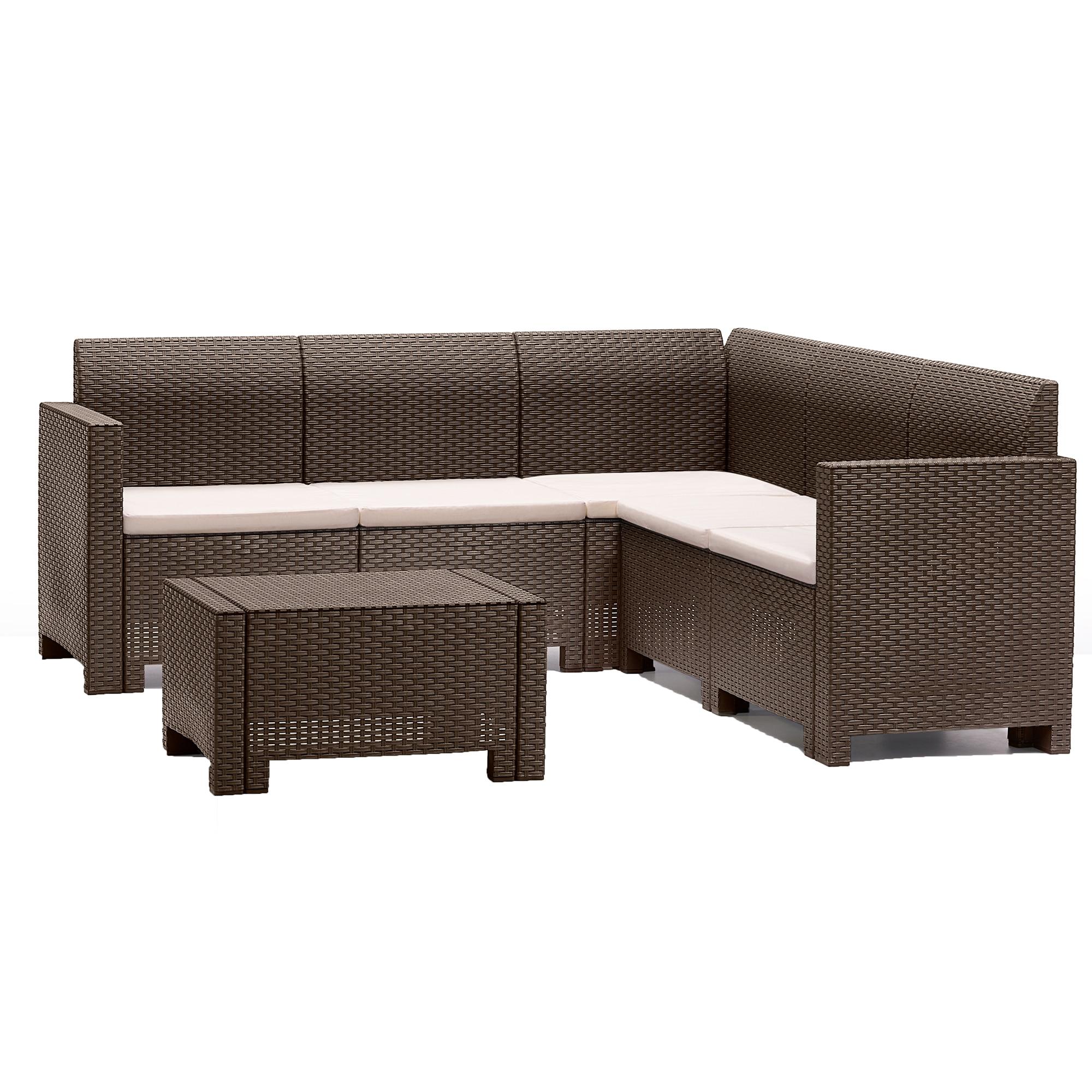 Fotografie Set mobilier gradina/terasa Nebraska, coltar 5 locuri + masuta, perne incluse, maro