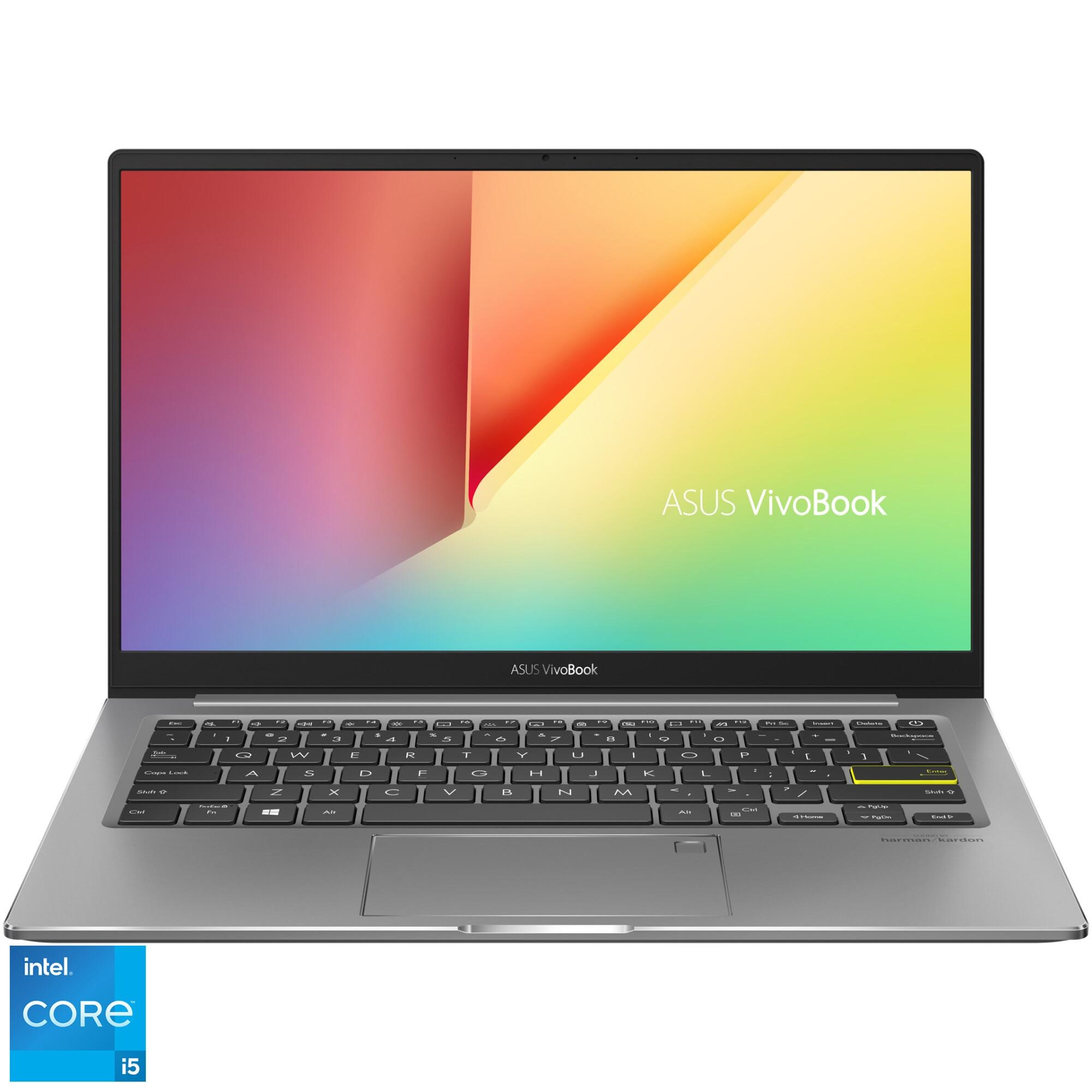 "Fotografie Laptop ultraportabil ASUS VivoBook S13 S333EA cu procesor Intel® Core™ i5-1135G7 pana la 4.20 GHz, 13.3"", Full HD, 8GB, 512GB SSD, Intel Iris Xᵉ Graphics, No OS, Indie Black"