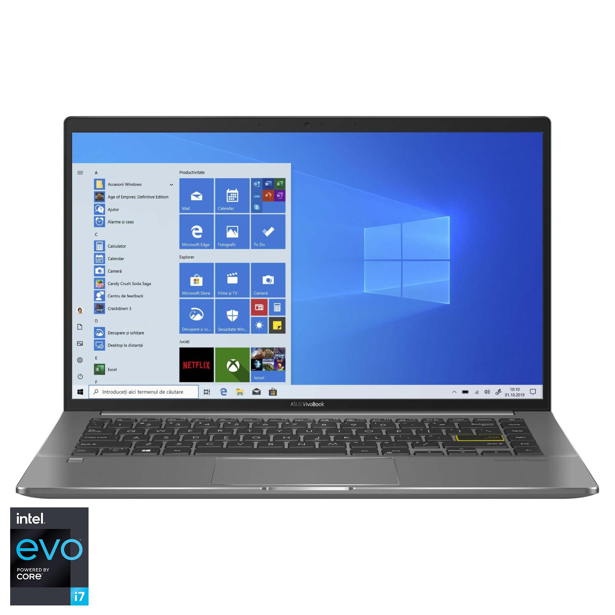 "Fotografie Laptop ultraportabil ASUS VivoBook S14 S435EA cu procesor Intel® Core™ i7-1165G7 pana la 4.70 GHz, 14"", Full HD, 16GB. 512GB SSD, Intel® Iris Xe Graphics, Windows 10 Home, Deep Green"