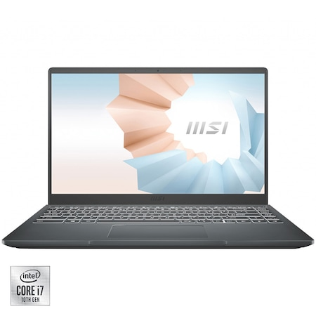 """Laptop ultraportabil MSI Modern 14 B10RBSW cu procesor Intel® Core™ i7-10510U pana la 4.90 GHz, 14"""", Full HD, 16GB, 512GB SSD, Nvidia GeForce MX350 2GB, Free DOS, Black"""