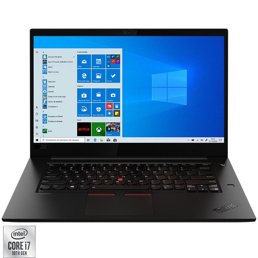 "Fotografie Laptop Lenovo ThinkPad X1 Extreme Gen 3 cu procesor Intel Core i7-10750H pana la 5.00 GHz, 15.6"", UHD, 16GB, 512GB SSD, NVIDIA GeForce GTX 1650 Ti Max-Q 4GB, Windows 10 Pro, Black"
