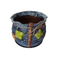 Ghiveci ceramic, cu petec pentru flori cu farfurie si orificiu pentru scurgerea apei, 19 x 22, albastru