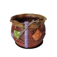 Ghiveci ceramic, cu petec pentru flori cu farfurie si orificiu pentru scurgerea apei, 19 x 22, maro
