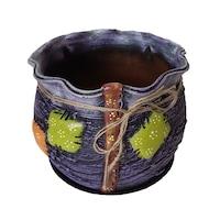 Ghiveci ceramic, cu petec pentru flori cu farfurie si orificiu pentru scurgerea apei, 19 x 22, mov