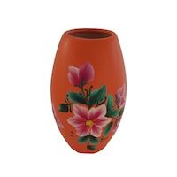 Vaza flori/Suport din ceramica, lucrata/pictata manual, 15 x 5.5 cm, motiv floral, portocaliu