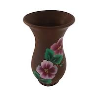 Vaza flori/Suport din ceramica, lucrata/pictata manual, 16 x 10 cm, motiv floral, maro