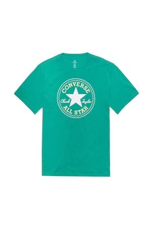 Converse, Tricou cu imprimeu logo si decolteu la baza gatului Chuck Taylor, Verde, S