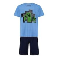 Пижама Minecraft 3 Creepers, С къс ръкав и панталон, Размер 128, Син