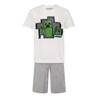 Пижама Minecraft 3 Creepers, С къс ръкав и панталон, Размер 140, Бял/Сив