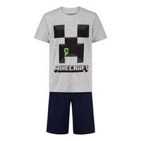 Пижама Minecraft Creeper, С къс ръкав и панталон, Размер 164, Сив/Черен