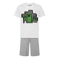 Пижама Minecraft 3 Creepers, С къс ръкав и панталон, Размер 128, Бял/Сив