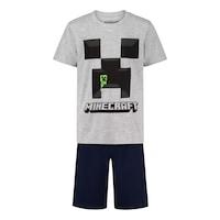 Пижама Minecraft Creeper, С къс ръкав и панталон, Размер 116, Сив/Черен