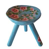 Scaun lemn cu trei picioare, living/bucatarie/dormitor,lemn, pictat manual, 20x23, albastru deschis