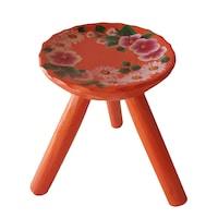 Scaun lemn cu trei picioare, living/bucatarie/dormitor,lemn, pictat manual, 22x23, portocaliu