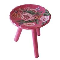Scaun lemn cu trei picioare din lemn, living/bucatarie/dormitor, pictat manual, 22x23, roz