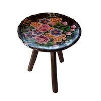 Scaun lemn cu trei picioare din lemn, living/bucatarie/dormitor, pictat manual, 22x23, multicolor