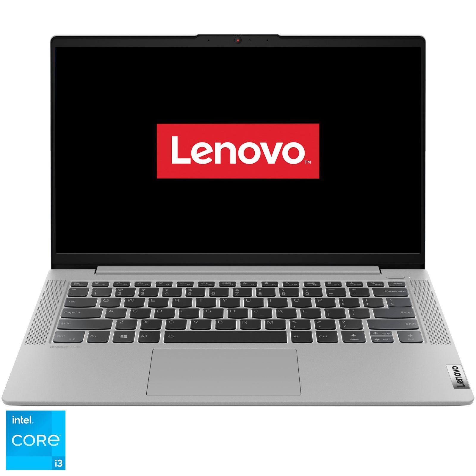"Fotografie Laptop ultraportabil Lenovo IdeaPad 5 14ITL05 cu procesor Intel Core i3-1115G4 pana la 4.10 GHz, 14"", Full HD, 8GB, 256GB SSD, Intel UHD Graphics, Free DOS, Platinum Grey"