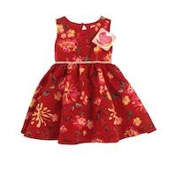 Yung land kislány virágmintás piros alkalmi ruha
