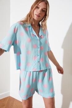 Trendyol, Pöttyös pizsama, Világoskék/Rózsaszín, L