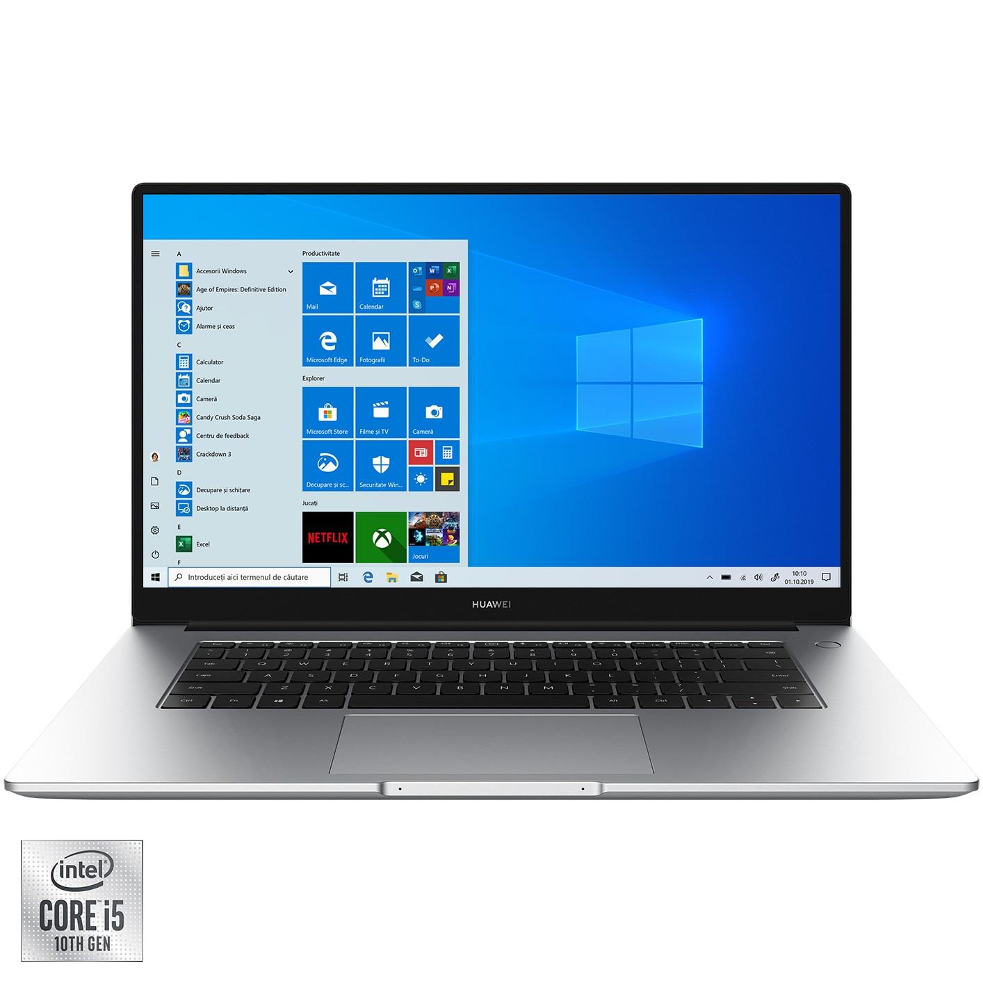 "Fotografie Laptop Huawei MateBook D15 2021 cu procesor Intel® Core™ i5-10210U pana la 4.20 GHz pana la 4.20 GHz, 15.6"", Full HD, IPS, 16GB, 512GB SSD, Intel® UHD Graphics, Windows 10 Home, Silver"