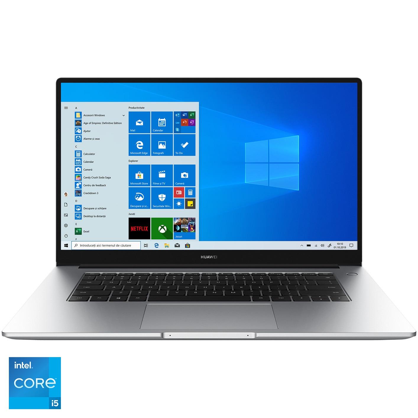 "Fotografie Laptop Huawei MateBook D15 2021 cu procesor Intel® Core™ i5-1135G7 pana la 4.20 GHz, 15.6"", Full HD, IPS, 16GB, 512GB SSD, Intel® Iris® Xe Graphics, Windows 10 Home, Silver"