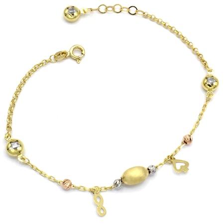 Bratara Oro Fantasia, aur 14k cu pandantive si bilute de aur
